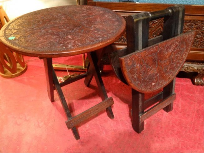 PAIR ANTIQUE WOOD PORTABLE FOLDING TABLES, CARVED - 4