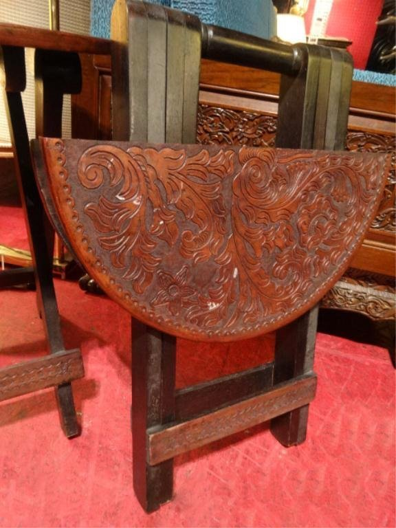 PAIR ANTIQUE WOOD PORTABLE FOLDING TABLES, CARVED - 5