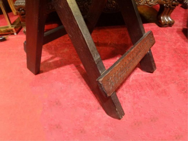 PAIR ANTIQUE WOOD PORTABLE FOLDING TABLES, CARVED - 6