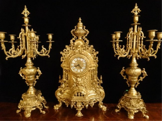ORNATE IMPERIAL FARBEL MANTLE CLOCK WITH 2 CANDELABRA, - 10