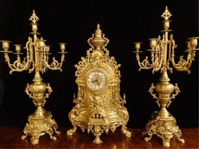 ORNATE IMPERIAL FARBEL MANTLE CLOCK WITH 2 CANDELABRA,
