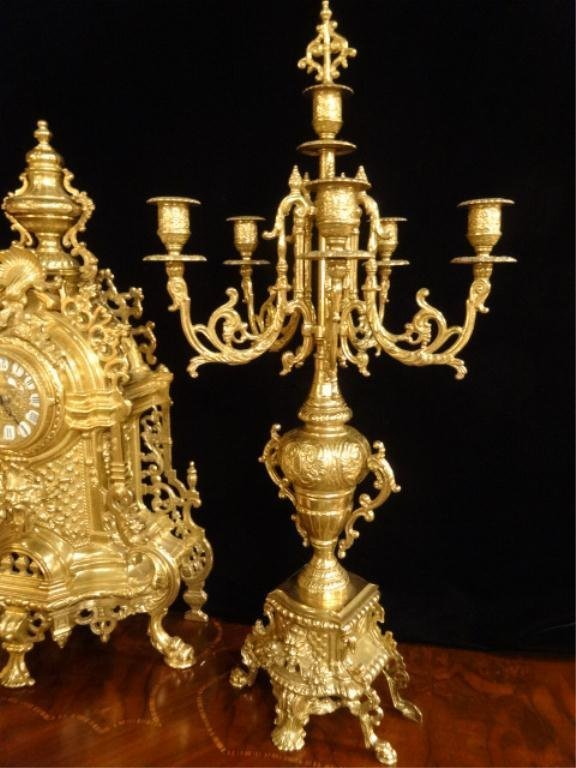 ORNATE IMPERIAL FARBEL MANTLE CLOCK WITH 2 CANDELABRA, - 2