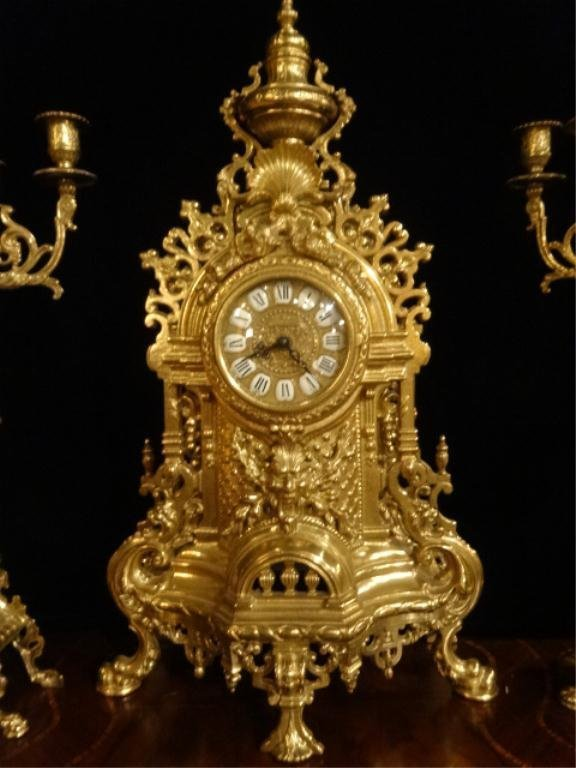 ORNATE IMPERIAL FARBEL MANTLE CLOCK WITH 2 CANDELABRA, - 6