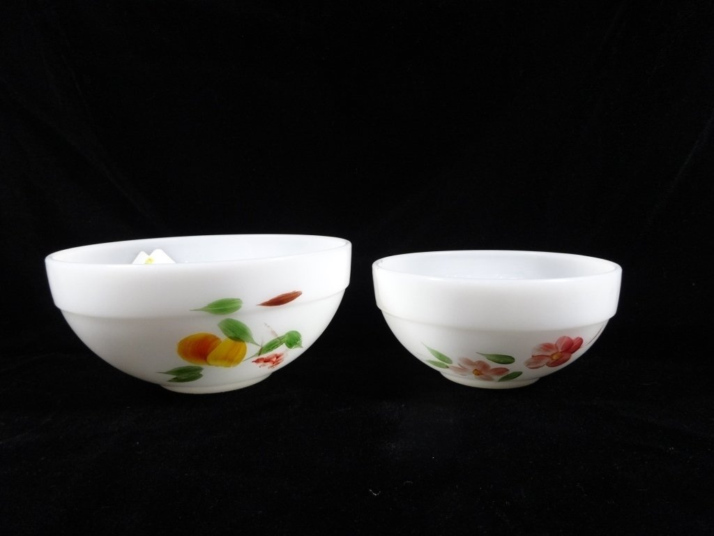 2 PC FIRE KING MIXING BOWLS, FRUIT & FLORAL DESIGNS