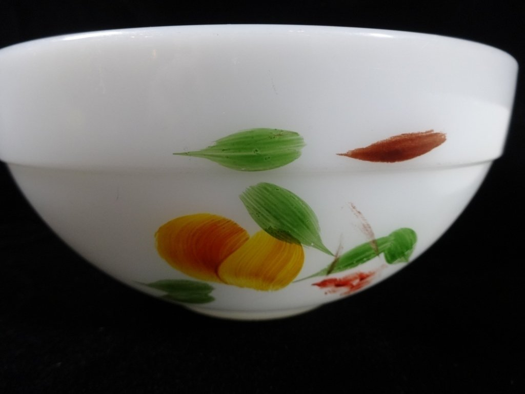 2 PC FIRE KING MIXING BOWLS, FRUIT & FLORAL DESIGNS - 2