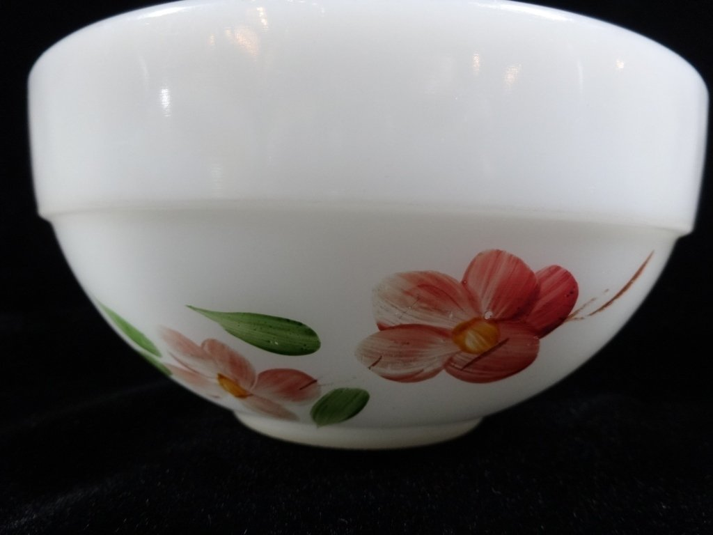 2 PC FIRE KING MIXING BOWLS, FRUIT & FLORAL DESIGNS - 5