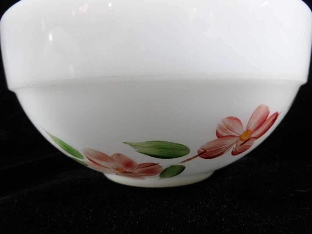 2 PC FIRE KING MIXING BOWLS, FRUIT & FLORAL DESIGNS - 6