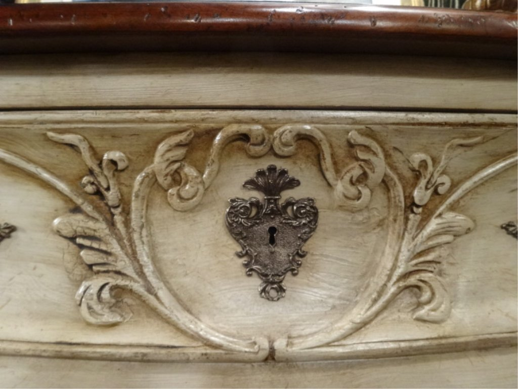 FRENCH STYLE BOMBE CHEST IN ANTIQUE WHITE/ CREAM - 2