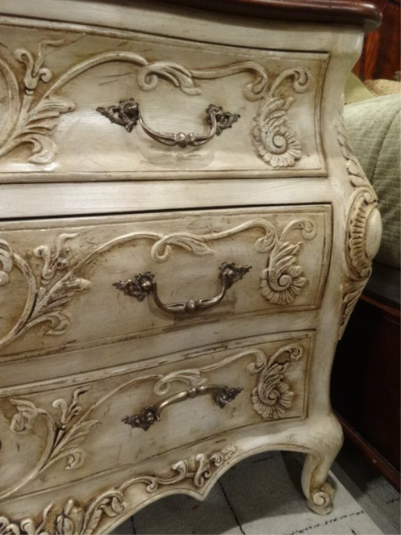 FRENCH STYLE BOMBE CHEST IN ANTIQUE WHITE/ CREAM - 3