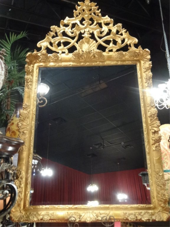 LARGE CARVER'S GILD ROCOCO GOLD GILT WOOD MIRROR, #1 OF