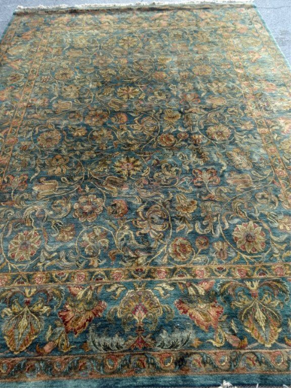 LARGE PERSIAN STYLE WOOL RUG, GREEN FIELD WITH FOLIATE