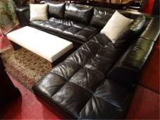AMERICAN LEATHER SECTIONAL SOFA DARK CHOCOLATE TUFTED