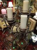 3 PC ORNATE CANDLESTICKS METAL AND COMPOSITION BASE