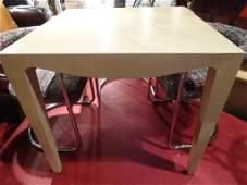 LACQUERED LINEN WRAPPED GAME TABLE, LIGHT BEIGE,