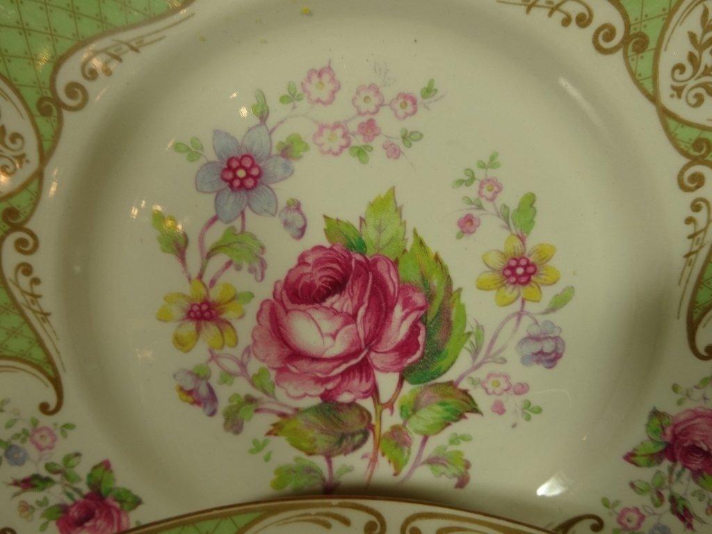 "12 MYOTT CHINA PLATES, ""STAFFORDSHIRE ROSE"", MADE IN - 2"