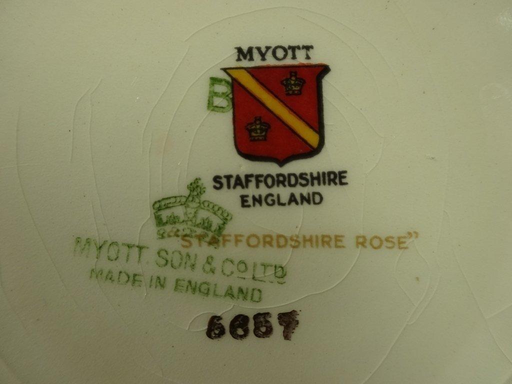 "12 MYOTT CHINA PLATES, ""STAFFORDSHIRE ROSE"", MADE IN - 5"