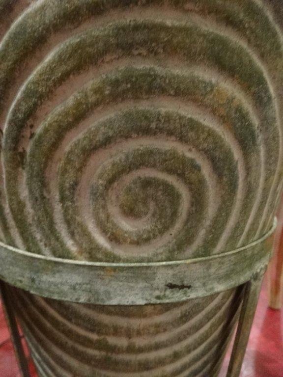LARGE CERAMIC FLOOR VASE, IN METAL STAND, SPIRAL DESIGN - 4
