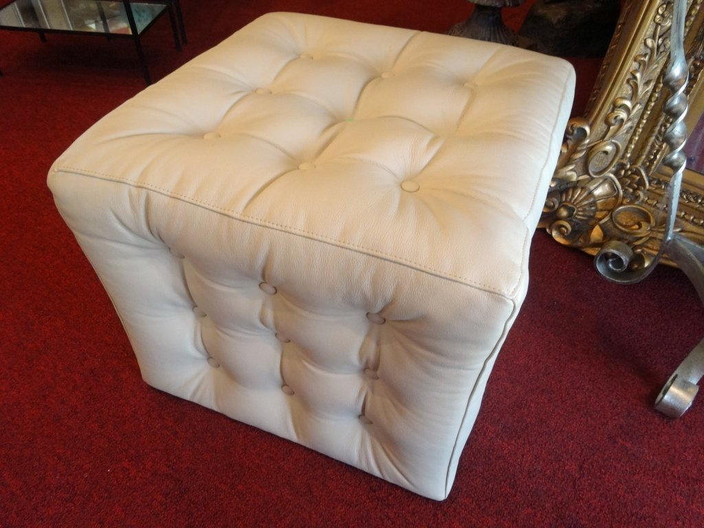 NEW NOT USED KRAVET LEATHER OTTOMAN, BUTTON TUFTED PALE