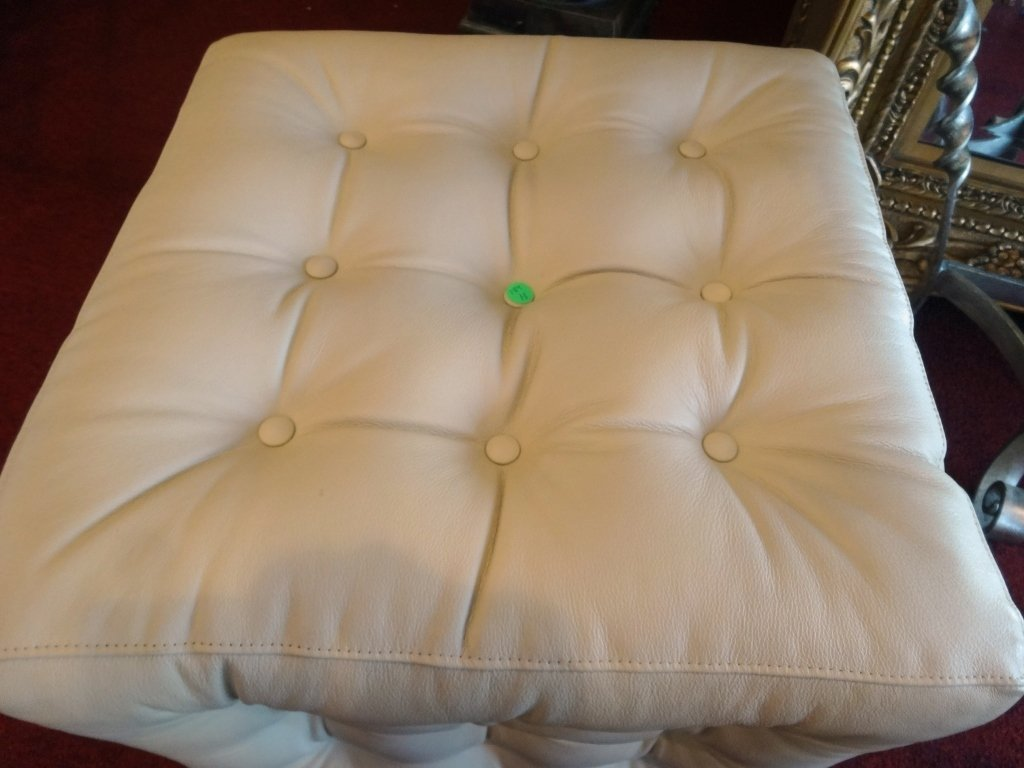 NEW NOT USED KRAVET LEATHER OTTOMAN, BUTTON TUFTED PALE - 2