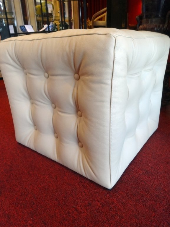 NEW NOT USED KRAVET LEATHER OTTOMAN, BUTTON TUFTED PALE - 3