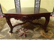 SQUARE CARVED WOOD COFFEE TABLE MAHOGANY FINISH