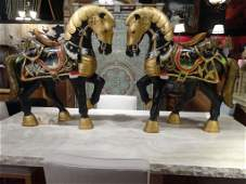 PAIR LARGE CHINESE GILT AND PAINTED WOOD HORSES WITH