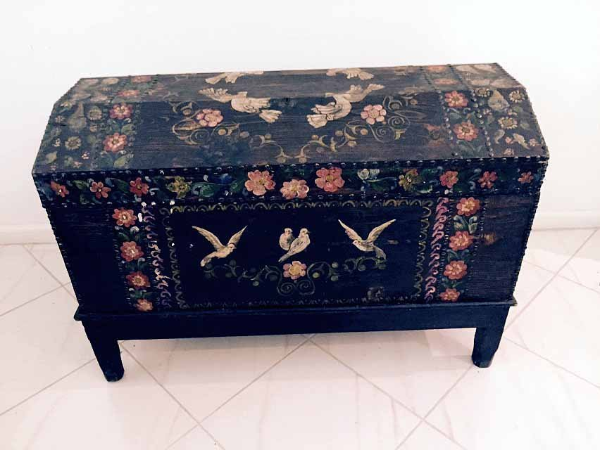 VINTAGE LARGE PAINTED WOOD WEDDING CHEST ON STAND,