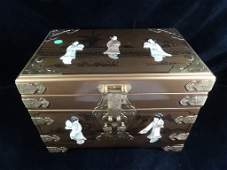 CHINESE WOOD JEWELRY CHEST WITH CARVED STONE FIGURES