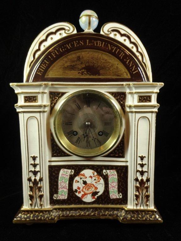 ANTIQUE WEDGWOOD CLOCK, MARKED WEDGWOOD AD 1877 ON