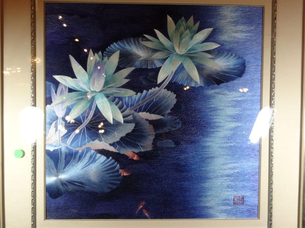 "SILK EMBROIDERY ARTWORK, ""BESIDE OF WATER"", WATER - 3"