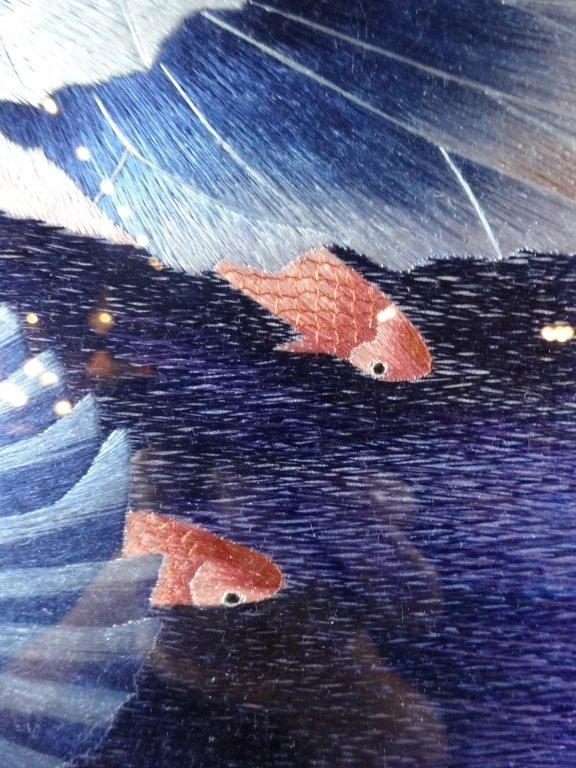 "SILK EMBROIDERY ARTWORK, ""BESIDE OF WATER"", WATER - 5"