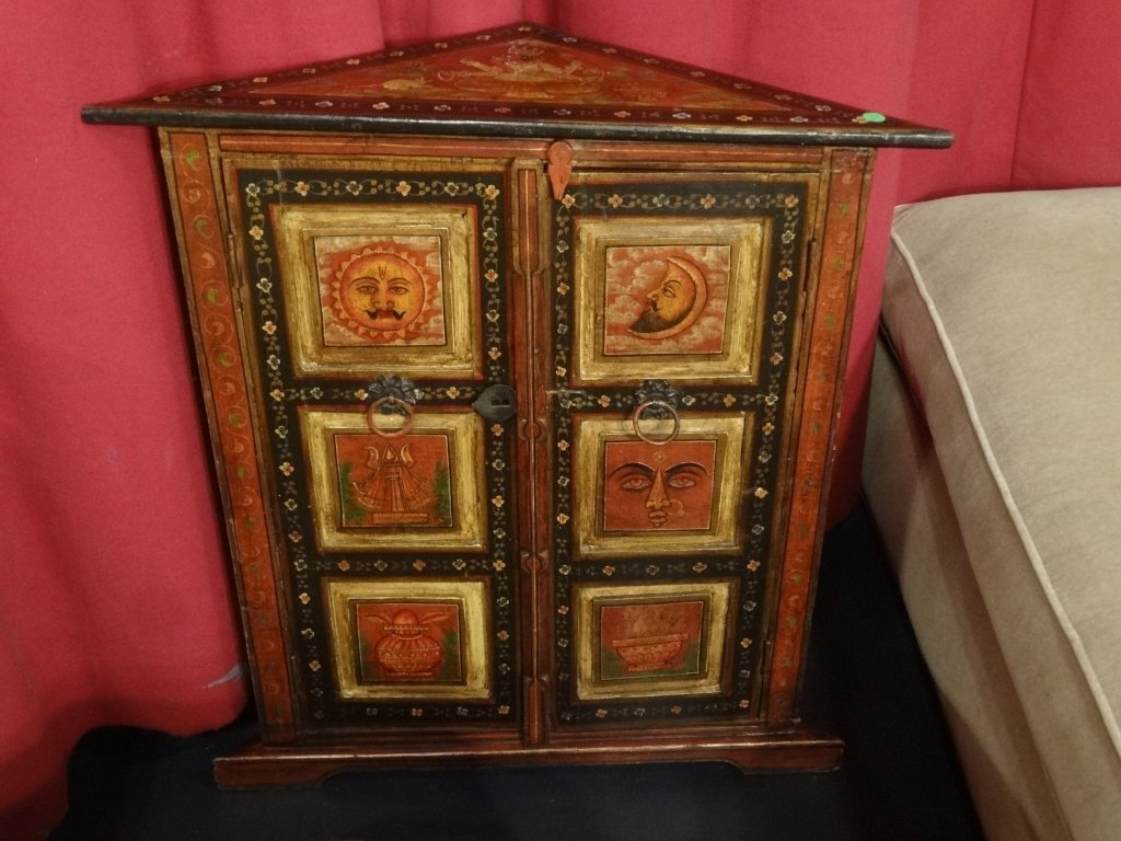 POLYCHROME WOOD CORNER CABINET, MADE IN INDIA, APPROX