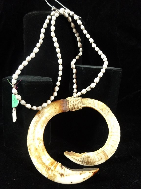 "HORN NECKLACE, APPROX 30""L, HORN APPROX 4 1/2"" X 5 3/8"""