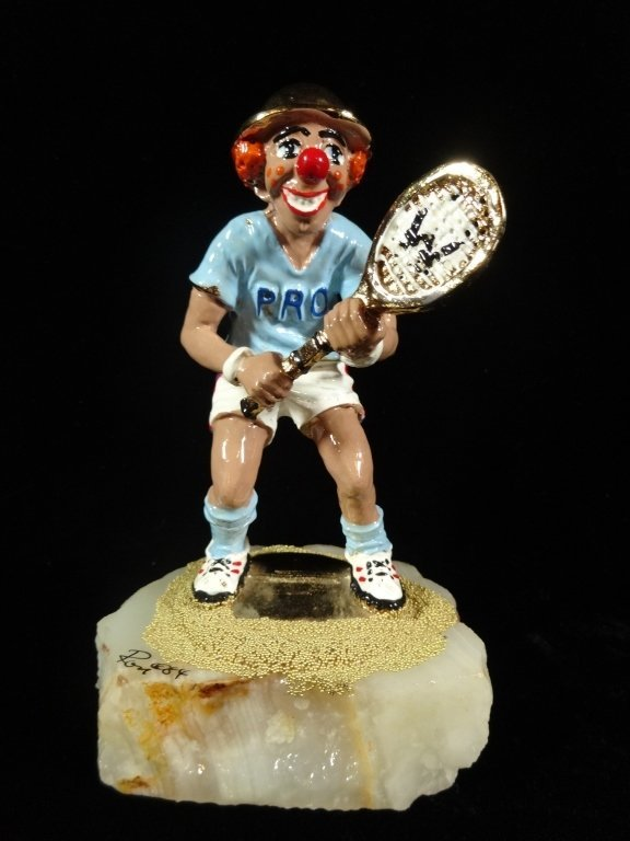 RON LEE SIGNED METAL CLOWN SCULPTURE, TENNIS PLAYER,