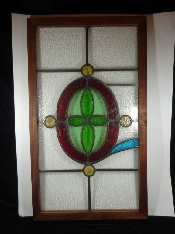 VINTAGE LEADED STAINED GLASS WINDOW IN RUSTIC CUSTOM