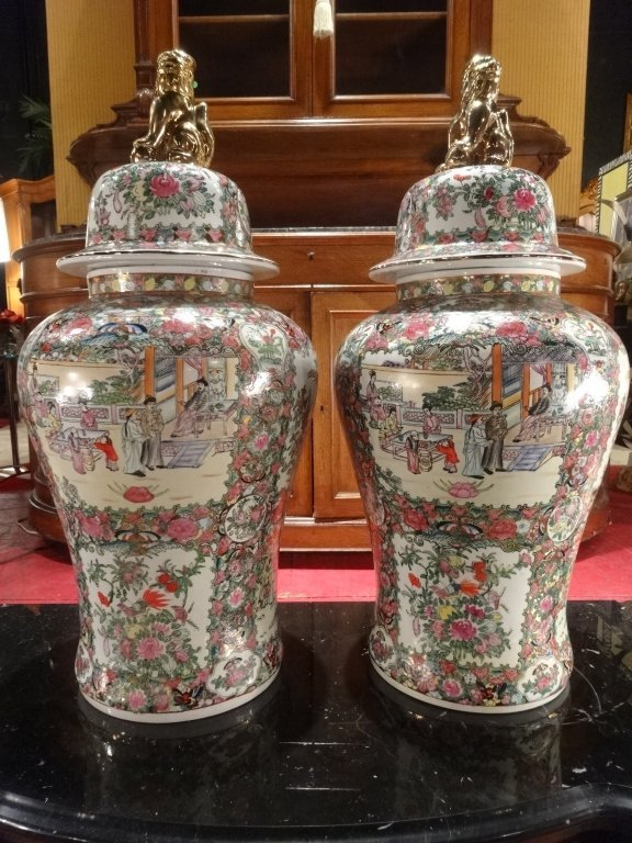 PAIR LARGE CHINESE ROSE MEDALLION GINGER JARS WITH