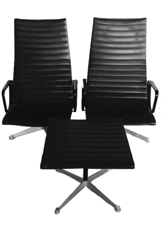 3 PC 1970's HERMAN MILLER HIGH BACK ALUMINUM GROUP NAUG