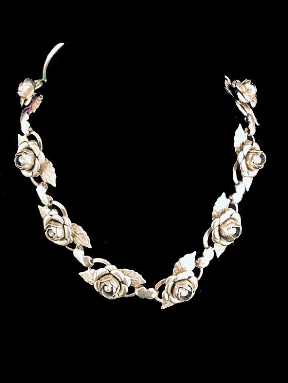 "STERLING SILVER ROSE DESIGN CHOKER, APPROX 13""L"