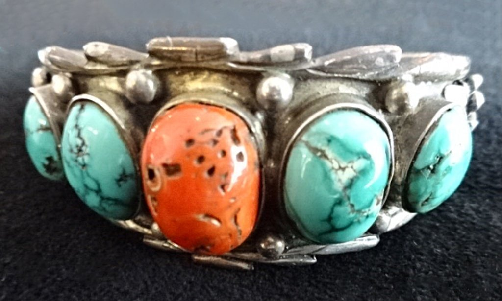 HEAVY STERLING SILVER BRACELET, SET WITH 4 TURQUOISE &