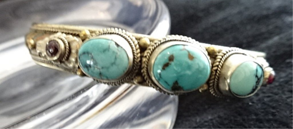 TURQUOISE, STERLING SILVER & BRASS BRACELET, APPROX 2