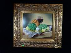 JOHN HULCE, JR. OIL PAINTING ON BOARD, STILL LIFE WITH