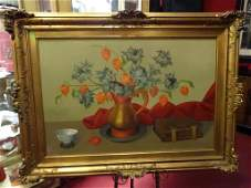 JOAN V. GHENT OIL ON CANVAS PAINTING, STILL LIFE OF