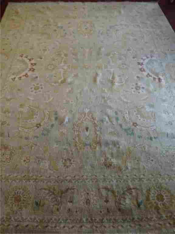 LARGE WOOL PERSIAN STYLE RUG, PALE GREEN AND CREAM,