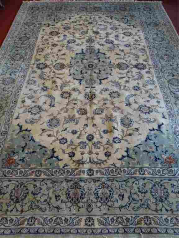 LARGE PERSIAN STYLE WOOL RUG, CREAM AND PALE GREEN,
