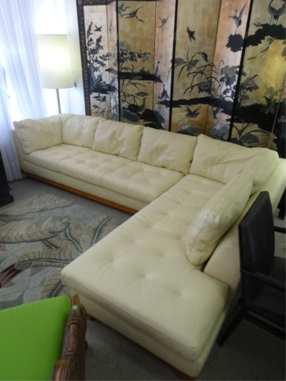 BOBOIS IVORY LEATHER SECTIONAL SOFA 2 PIECE WITH