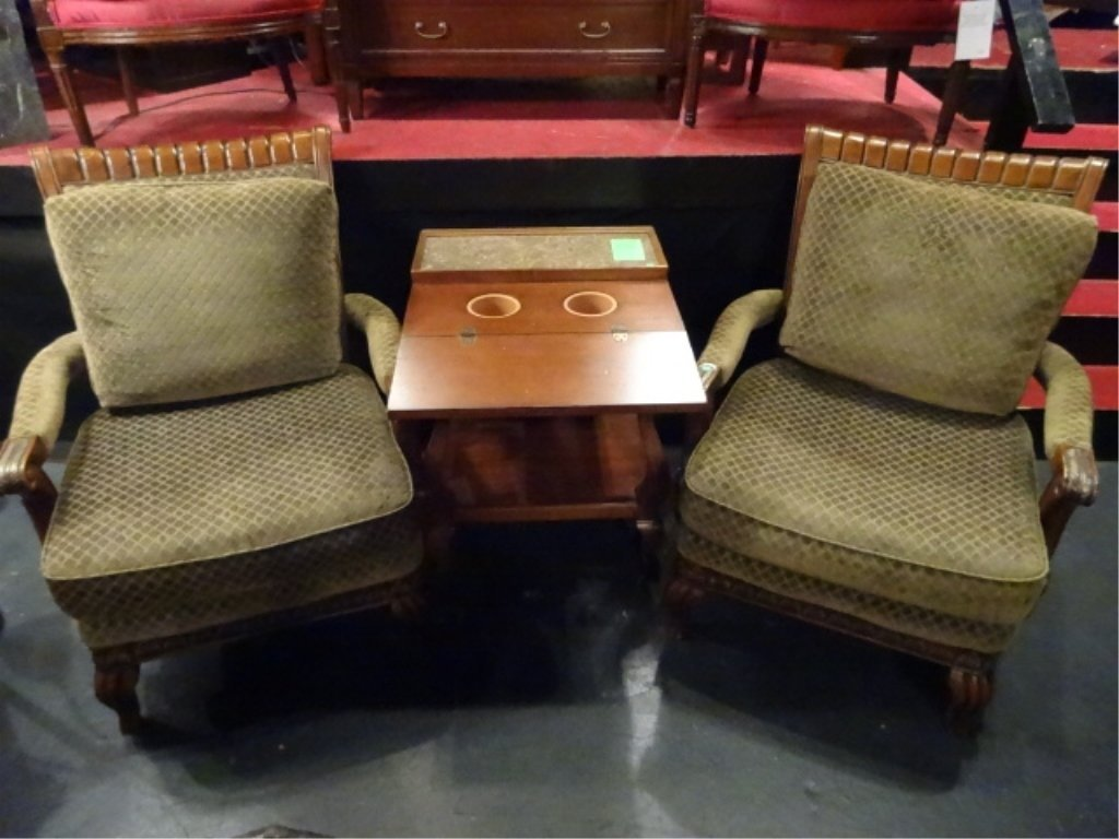 PAIR CARVED WOOD ARMCHAIRS, UPHOLSTERED IN GREEN