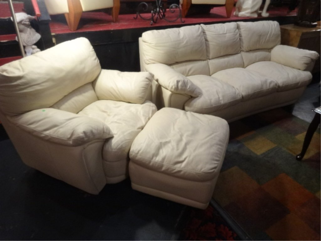 3 PC LEATHER SOFA, CHAIR, AND OTTOMAN, OFF WHITE