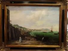 E. PONTHIER LARGE OIL ON CANVAS PAINTING, COASTAL