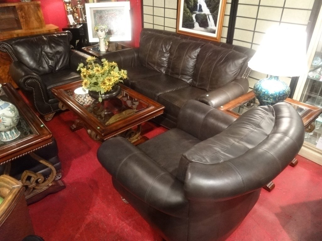 4 PC LEATHER SOFA, 2 CHAIRS & OTTOMAN, DARK BROWN