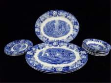 14 PC WOODS WARE, ENOCH WOOD'S ENGLISH SCENERY, BLUE &